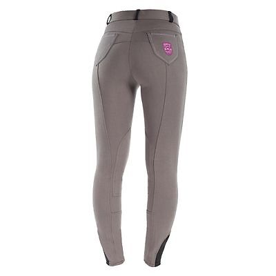 Horze Ladies English Hunt Seat Self Patch Breathable Contoured Breeches Gray