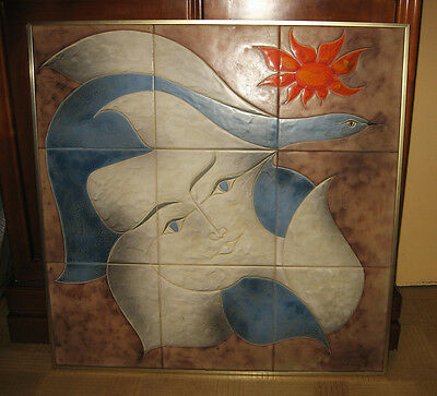 Very large panel ceramics Vallauris signed Gilbert Valentin The Archangels