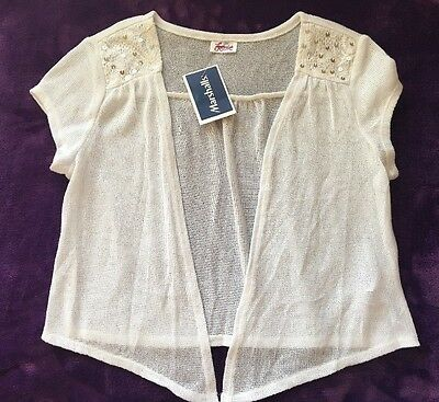 NWT Girls Size 10 12 Justice Sequin Shirt Sweater Cover White spring summer