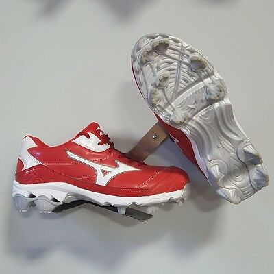 Mizuno Finch 5 Molded Softball Cleats Size 11 Red / White 320395