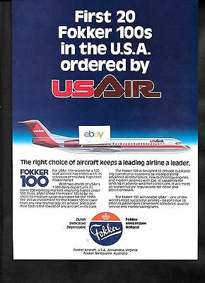 Usair First 20 Fokker 100S In Usa Ordered By Usair 1985 Ad