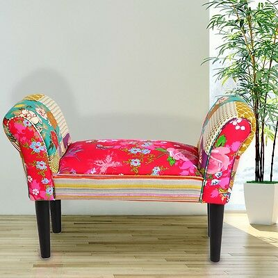 Design Seat Bench Textile Multicoloured Living Room Furniture Wooden Feet