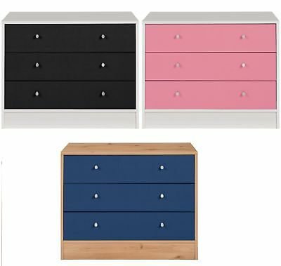 HOME New Malibu 3 Drawer Wide Chest - Choice of Black/Pink/Blue - From Argos