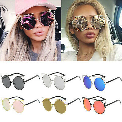 Large Oversized Cat Eye Sunglasses Fashion Metal Frame Flat Mirrored Lens Women