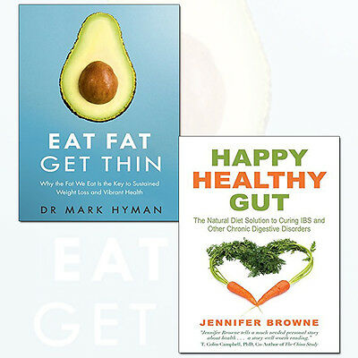 Happy Healthy Gut and Eat Fat Get Thin 2 Books Collection Set Pack Paperback NEW