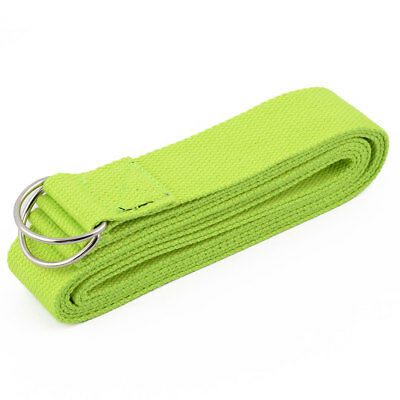 Cotton Blends D Shape Loop Stretching Exercise Yoga Strap Belt Fluorescent Green