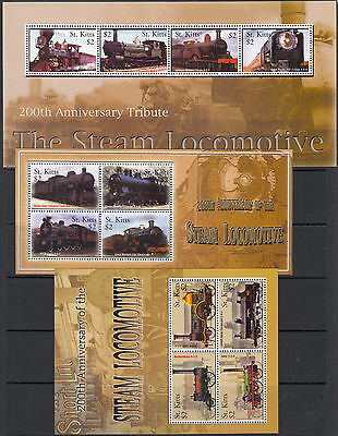 ST KITTS : 2004 Bicentenary of Steam Trains set +M.Sheet(3) SG768-779 +MS780 MNH