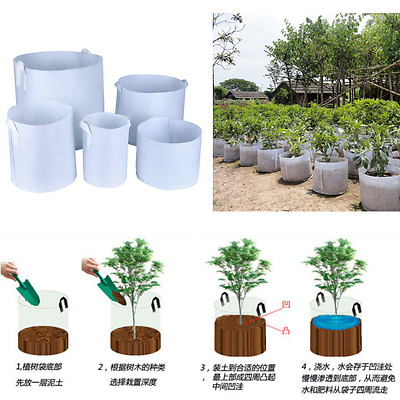 Round Plant Pouch Fabric Pots Root Container Grow Bag Aeration Container 3 Sizes