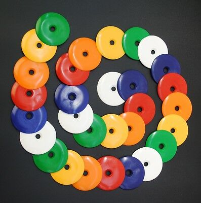 50 x Orange 25mm Dia Penny Washers Survey Markers High Impact Plastic Disc S7840