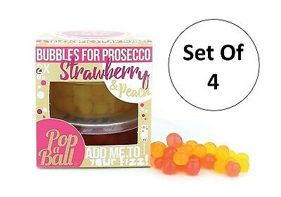 Popaball Pack Of 4 Bursting Bubbles For Prosecco Strawberry & Peach Flavour Ball