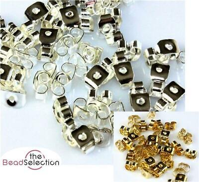 100 SILVER or GOLD PLATED EARRING SCROLL BUTTERFLY BACKS STOPPERS