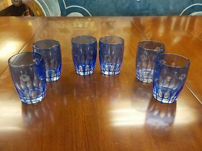 Vintage Set Of Six Glass  Etched Floral Vivid Blue Glass Tumblers
