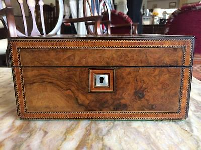 19th Century Inaid Walnut And Mother Of Pearl Victorian Sewing/ Jewellery Box