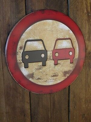 Rustic Vintage Round No Overtaking Metal Road Traffic Street Sign Wall Plaque
