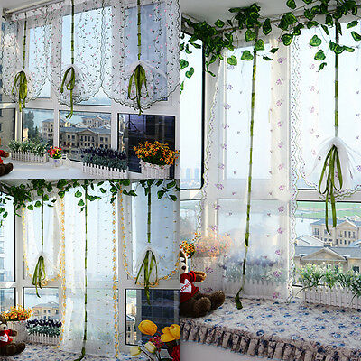 Room Floral Voile Window Curtain Sheer Voile Panel Drapes Curtain Valances