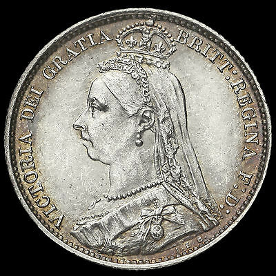 1887 Victoria Jubilee Head Sixpence, R over I (R/I) Error, Very Rare, GEF