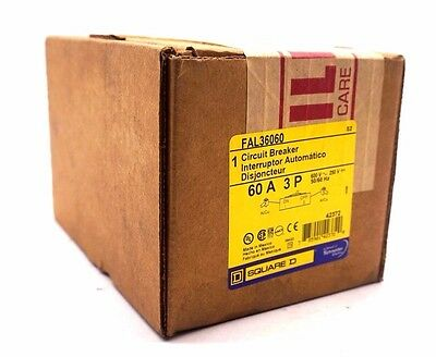 New Sealed Square D Fal36060 Circuit Breaker 60A 3 Pole