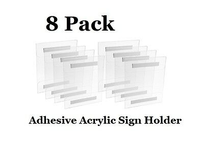 "8-Pack Wall Mount Adhesive Acrylic Sign Holder for 8.5"" x 11"" or 11"" x 8.5"""