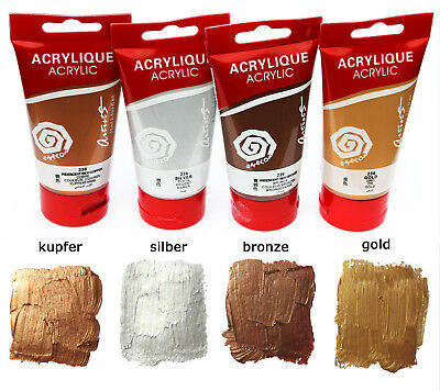 (29,83€/L) | Metallic Acrylfarben Set 4x 75 ml in Kupfer, gold, silber + bronze