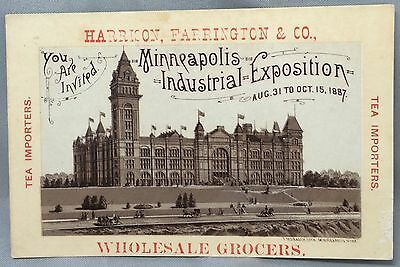 1887 MINNEAPOLIS Industrial Expo TEA Importers Victorian Advertising TRADE CARD
