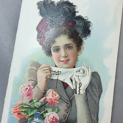 1899 Fosters HOOK LADYS GLOVES Victorian Adv 2-Panel TRADE CARD Mansfield OH