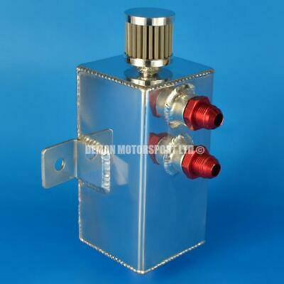 1 Litre AN8 Polished Aluminium Oil Catch Tank -8 8AN + Filter and Drain Plug