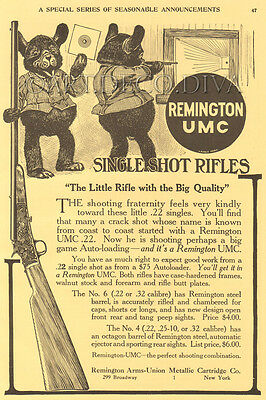 Antique '14 Remington UMC .22 Rifle Bogue Hunt Target Shooting Range BEAR Art Ad