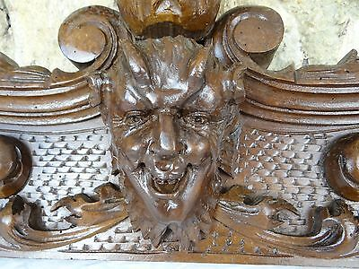 "29 "" Beautiful  Antique French Hand Carved Pediment 19 th - Walnut- Devil's Head"