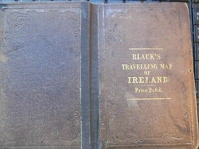 Ireland:traveller's & Railway Antique Map A & C Black C1860-Engraved+Watercolour
