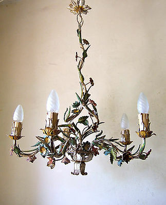 Rare Antique  French Painted Toleware  5 Light  Chandelier With Flowers