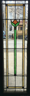 "Antique Stained Leaded Glass Window / Door 45"" by 15 1/8"""