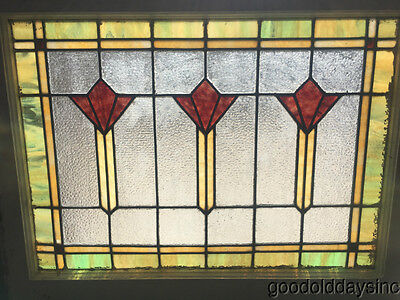 Antique Art Deco 1920's Stained Leaded Glass Window