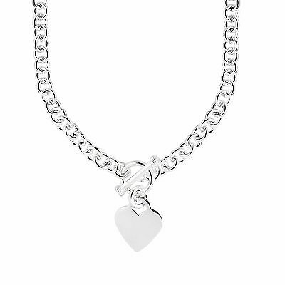 925 Sterling Silver Rhodium Charm Link Heart Tag Toggle Necklace 18""