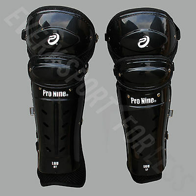 Pro Nine Senior Baseball / Softball Umpire Leg Guards Pads - Black (NEW)