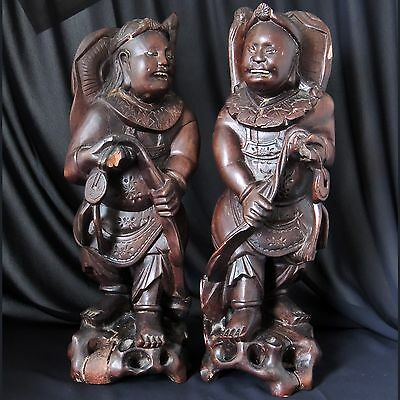 "2 X Antique Chinese Hand Carved Hardwood Figures 11 1/2"" Tall One Signed"