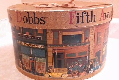 Vintage Dobbs Fifth Avenue Hat Box City Street Storefront Design New York 7x10