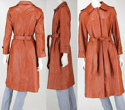 Womens 70s Vintage Breier of Amsterdam Belted Leather Disco Trench Coat Jacket