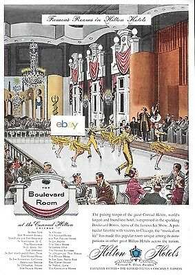"""Hilton Hotels Chicago Conrad """"boulevard Room"""" Ice Skating Famous Rooms Ad"""