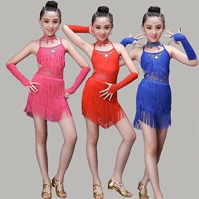 New Girls Latin Dancewear Tassel Dress Arm Sleeve Dance Training Outfit Clothing