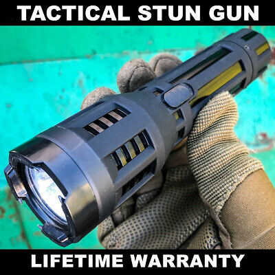 Powerful Metal POLICE Stun Gun 10MV Rechargeable LED Flashlight w/ Taser Case