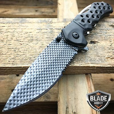 "8"" Razor Carbon Fiber Combat Tactical Spring Assisted Open Folding Pocket Knife"