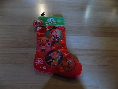 Disney Jake and the Neverland Pirates Red Satin Christmas Holiday Stocking New