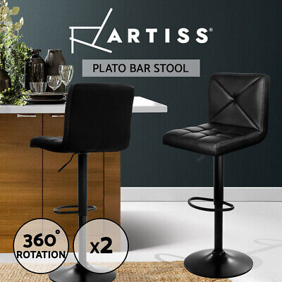 Artiss 2x Bar Stools Leather Chrome Kitchen Cafe Bar Stool Chair Gas Lift Black
