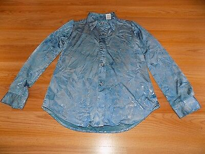 Girl's Size Small 6-6X Roper Western Shirt Top Snap Front Blue Metallic Silver