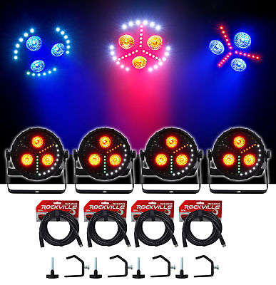 (4) Chauvet DJ FXPar 3 RGB+UV SMD LED Par Can Wash Lights w/Strobe+Cables+Clamps