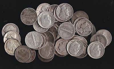 USA, 47 silver 10 cent colins 1920 -1964