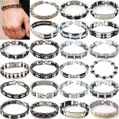 Men Women Silver Cross Stainless Steel Black Rubber Bracelet Bangle Wristband