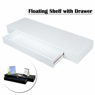 Wall Floating Shelf Panel Shelves with Drawer Bookshelf Shop Display White