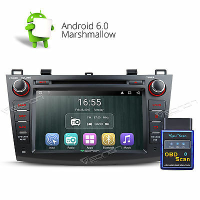 """OBD-II& 8"""" Android 6.0 Car DVD CD Player Radio Stereo GPS SD F For Mazda 3 10-13"""