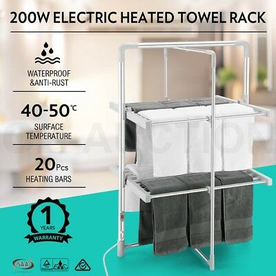 200W Electric Heated Towel Clothes Rail Hanger Rack Laundry Arier Dryer Foldable